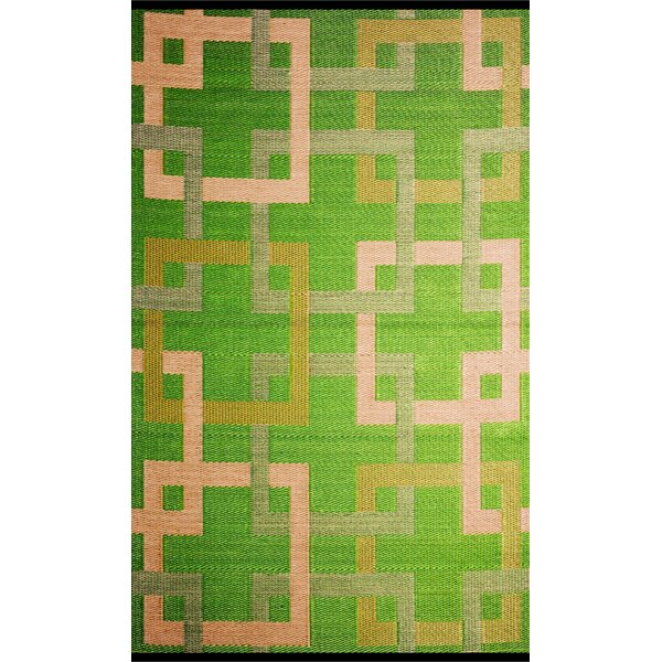 Square Reversible Green/Beige Outdoor Area Rug by b.b.begonia