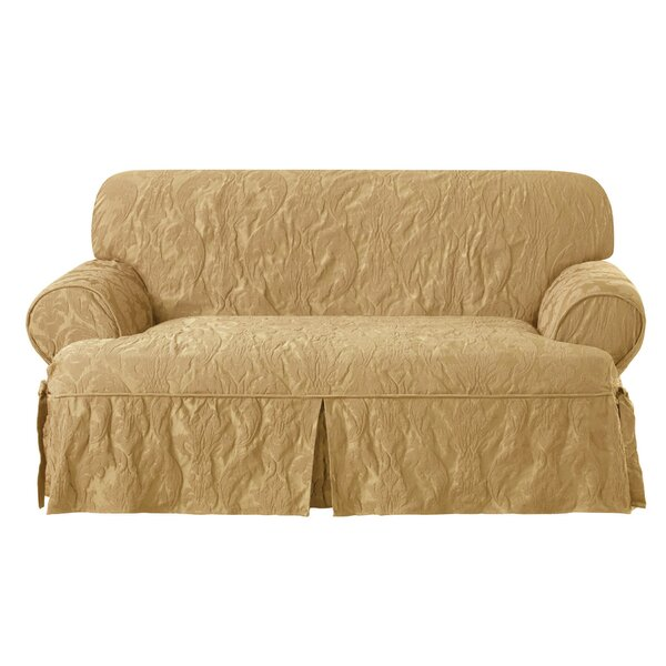 Matelasse Damask T-Cushion Loveseat Slipcover by Sure Fit