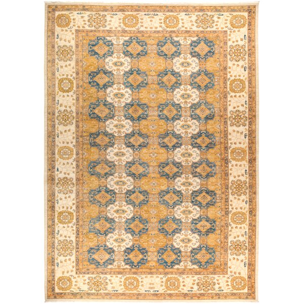 One-of-a-Kind Dexter Hand Knotted Wool Yellow Area Rug by Isabelline