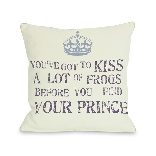 Kiss A Lot of Frogs Throw Pillow by One Bella Casa