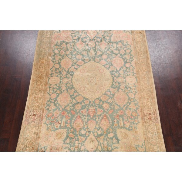 One-of-a-Kind Hand-Knotted 1900s Hereke Beige/Green 6'7 x 9'10 Silk Area Rug
