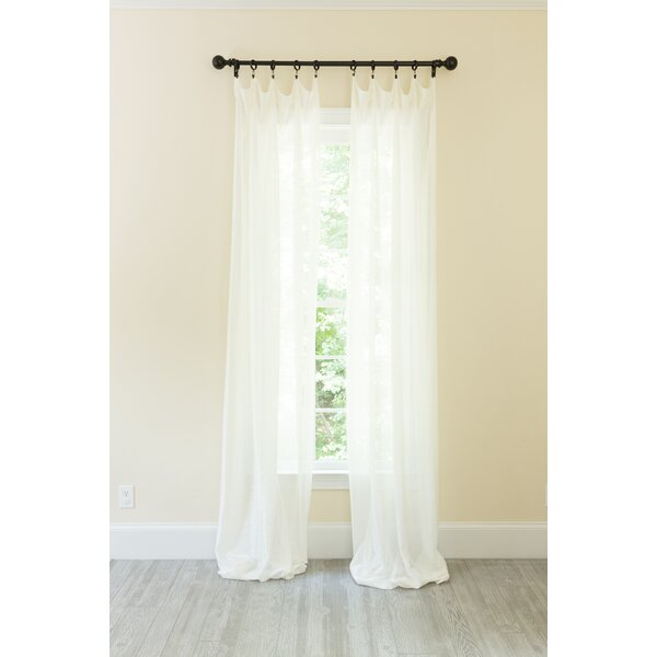 Alexandro Metallic Curtain Solid Semi-Sheer Rod Pocket Curtain Panel by Rosdorf Park
