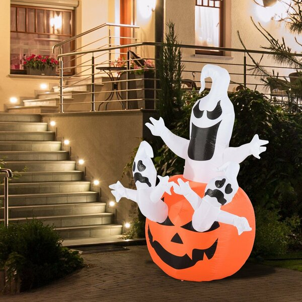 Jack-O-Lantern Pumpkin with Ghosts Airblown Inflatable by The Holiday Aisle