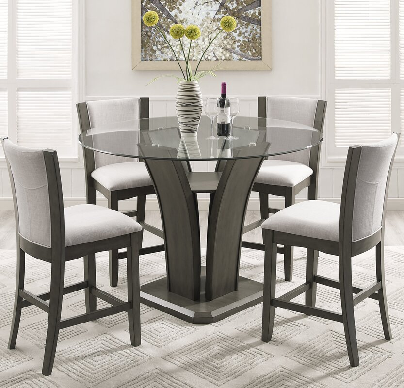 Lovely Kangas 5 Piece Round Counter Height Dining Set