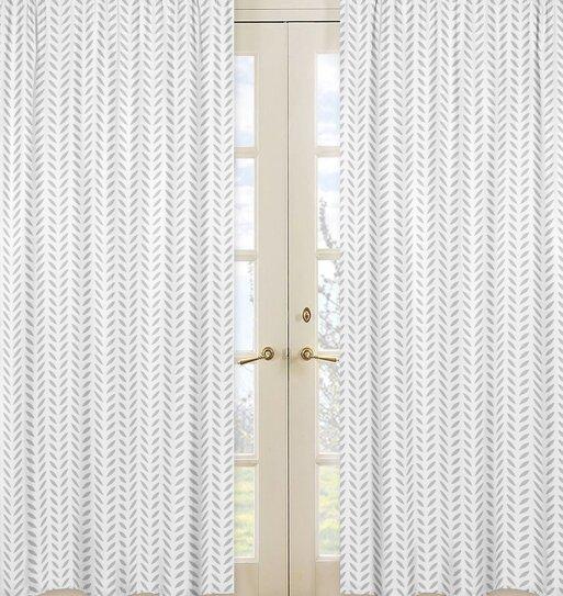 Forest Deer Nature/Floral Semi-Sheer Rod pocket Curtain Panels (Set of 2) by Sweet Jojo Designs