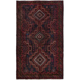 Deals One-of-a-Kind Alaska Hand-Knotted 3'11 x 6'7 Wool Red/Black Area Rug By Isabelline