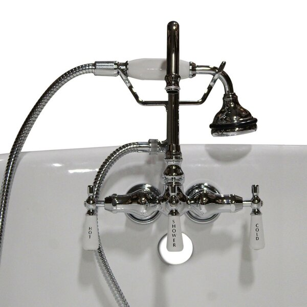 Clawfoot Wall Mount Brass Tub Faucet with Hand Held Shower by Cambridge Plumbing