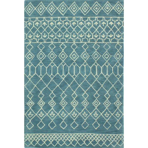 Bielecki Hand-Tufted Wool Azure Area Rug by Mercury Row