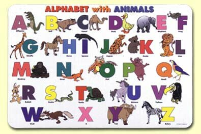Alphabet with Animals Placemat (Set of 4) by Painless Learning Placemats