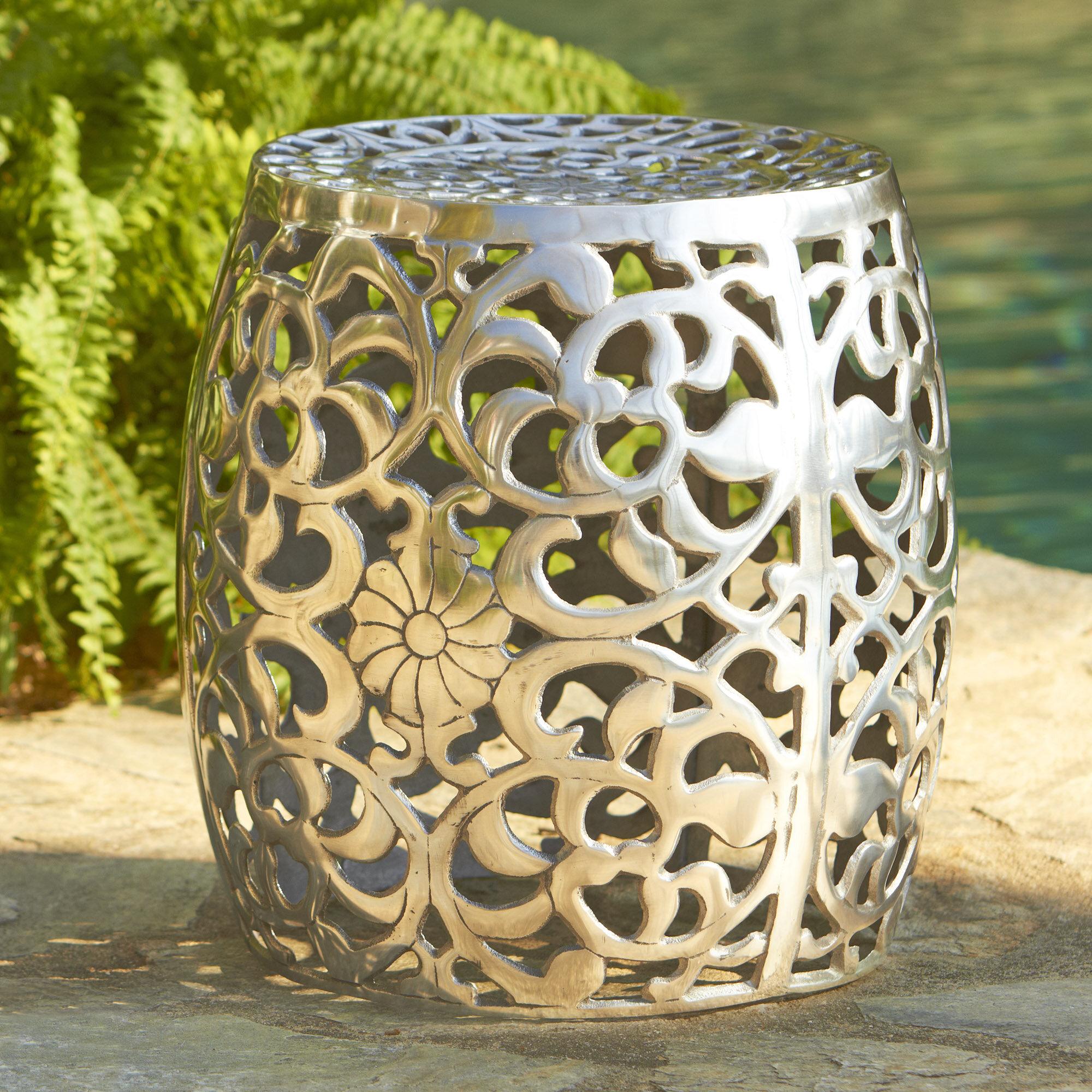 Great Birch Lane™ Fretwork Aluminum Garden Stool U0026 Reviews   Wayfair