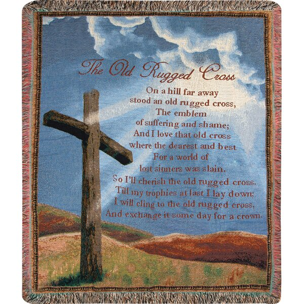 Old Rugged Cross Tapestry Cotton Throw by Manual Woodworkers & Weavers