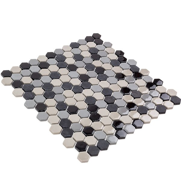 Recoup 11.5 x 12 Glass Mosaic Tile in Gray/Black by Splashback Tile