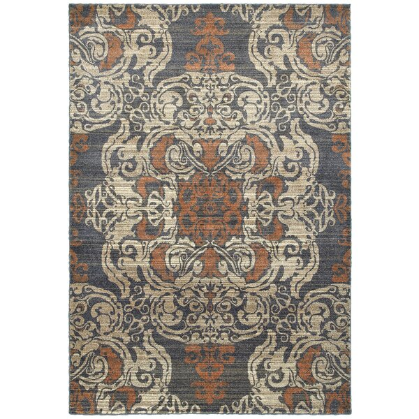 Sacha Blue/Rust Area Rug by Bloomsbury Market