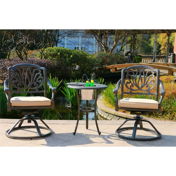 Myrick Aluminum 3 Piece Sunbrella Bistro Set with Sunbrella Cushions by Bloomsbury Market