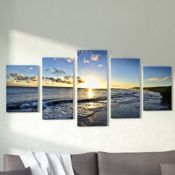 Day Break 5 Piece Framed Photographic Print Set On Canvas In Blue Beige By Zipcode Design.