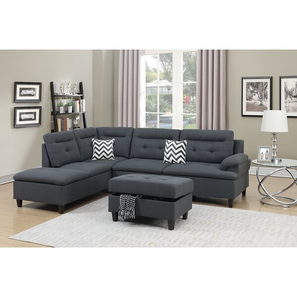 Elmdale Left Hand Facing Sectional with Ottoman by Ebern Designs