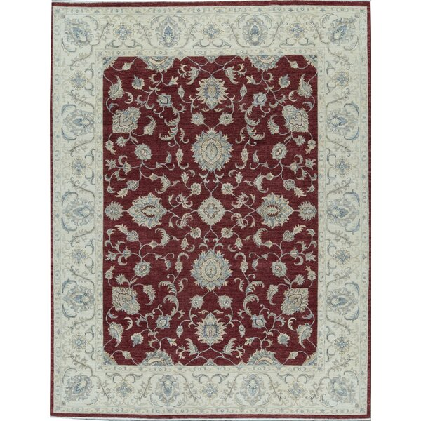 Ziegler Oriental Hand-Knotted Wool Red/Ivory Area Rug
