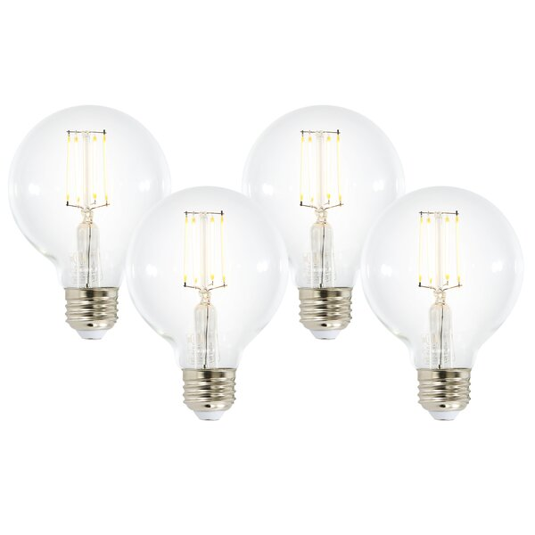 8W E26 Dimmable LED Edison Globe Light Bulb (Set of 4) by Light Society