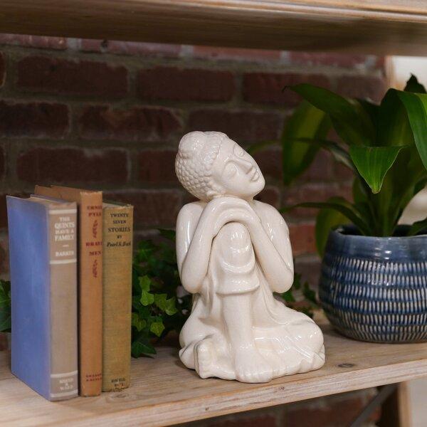 Hinderliter Ceramic Sitting Buddha with Rounded Ushnisha and Resting Head on Knee Figurine by World Menagerie