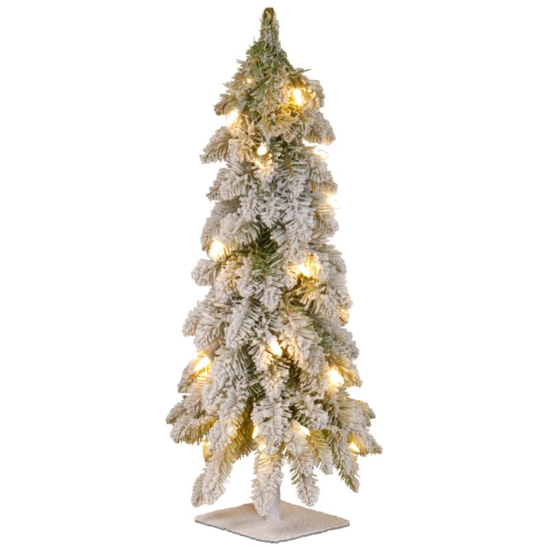 """50 Foot Christmas Tree: 24"""" White Artificial Christmas Tree With 50 Clear Lights"""