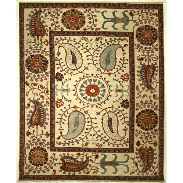 One-of-a-Kind Corbin Hand-Knotted Wool Cream Area Rug by Isabelline