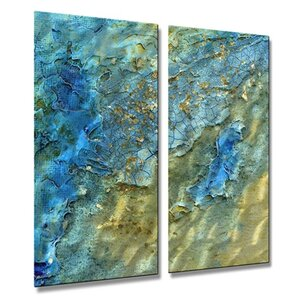 'Water Swept' by Kelli Money Huff 2 Piece Graphic Art Plaque Set by All My Walls