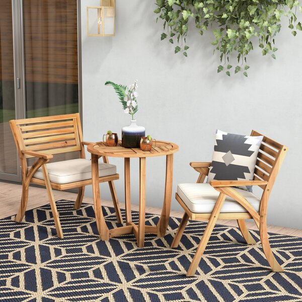 3 Piece Bistro Set with Cushions by Mercury Row