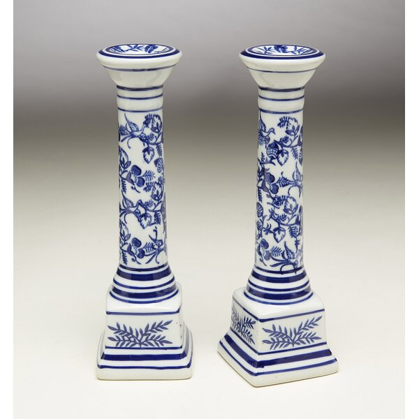 Floral Porcelain Candlestick (Set of 2) by Bloomsb
