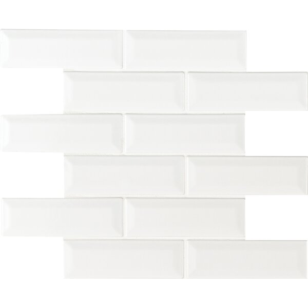 Whisper 2 x 6 Beveled Ceramic Mosaic Tile in White by MSI