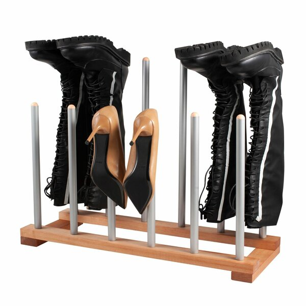 Wood Steel 6 Pair Shoe Rack