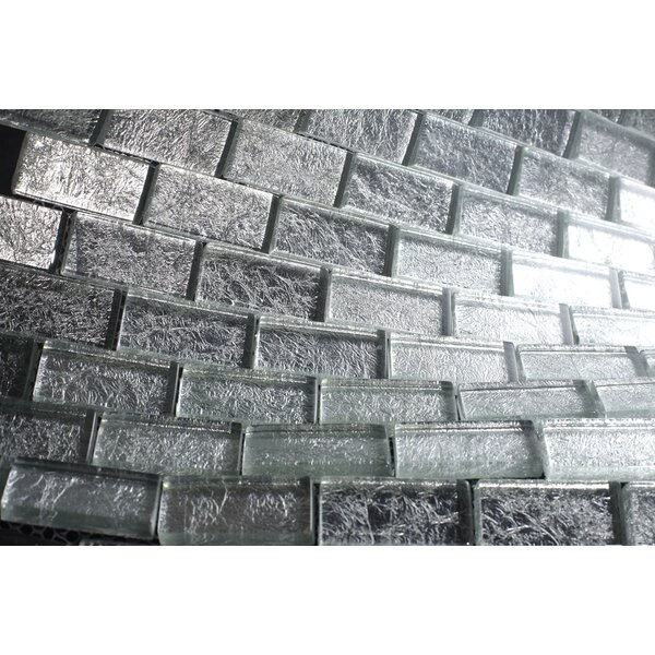 Wall Paper Underneath 1 x 2 Glass Mosaic Tile in Silver Foil by Multile