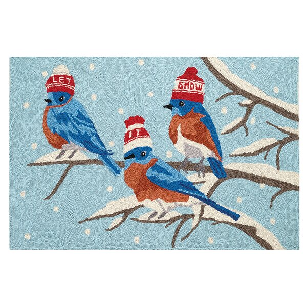 Snowy Birds Hand Hooked Wool Blue Area Rug by The