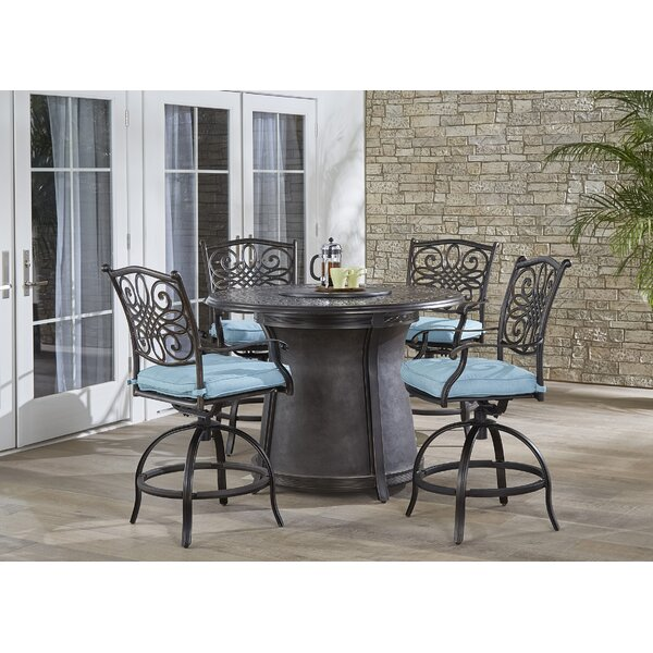 Thibeault 5 Piece Bar Height Dining Set with Cushions by Fleur De Lis Living