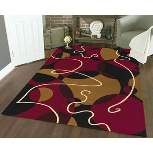 Bargain Zorgo Black/Red Area Rug By Threadbind