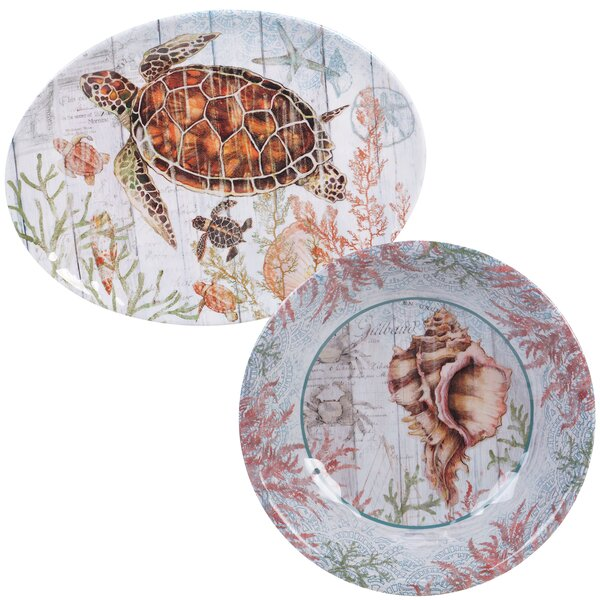 Higbee 2 Piece Melamine Platter Set by Highland Dunes