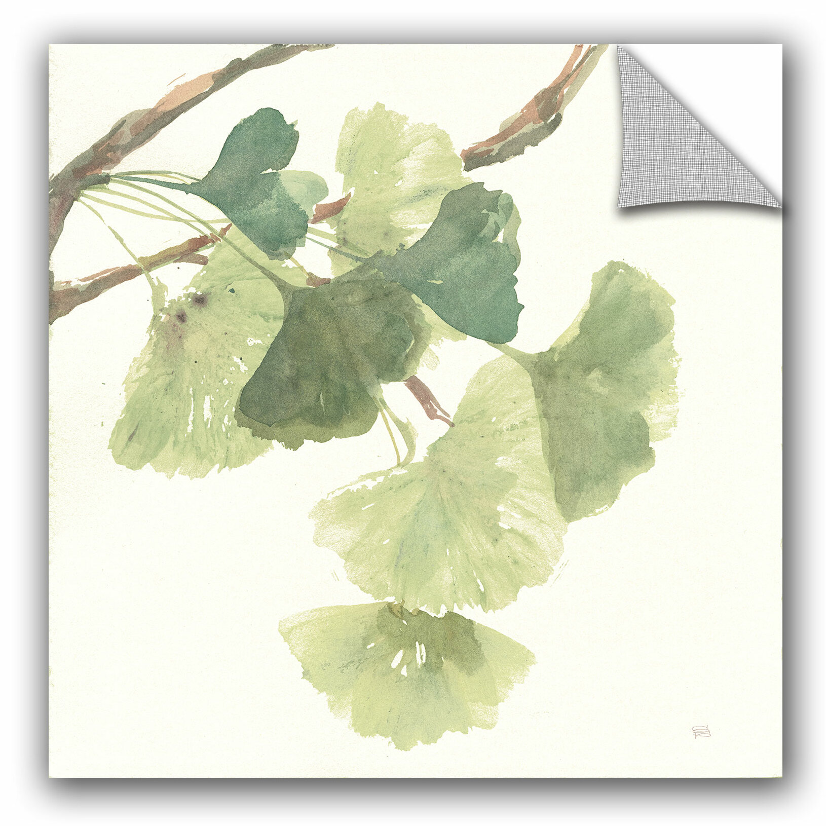 Bloomsbury Market Miron Ginkgo Leaves I Light Wall Decal | Wayfair