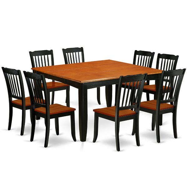 Lambeth 9Pc Square 36/54 Inch Table With 18 In Leaf And 8 Vertical Slatted Chairs by East West Furniture