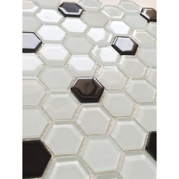 12 x 12 Glass Mosaic Tile in White and Black by Upscale Designs by EMA