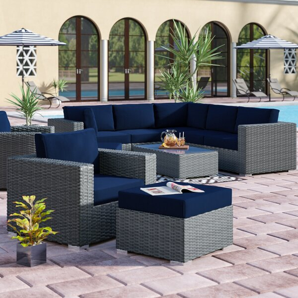Tripp 9 Piece Rattan Sunbrella Sectional Seating Group with Cushions by Brayden Studio