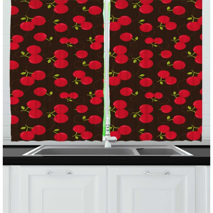 Cherry Summer Time Illustration of Repeating Fruit Motifs Ripe and Refreshing Kitchen Curtain (Set of 2)