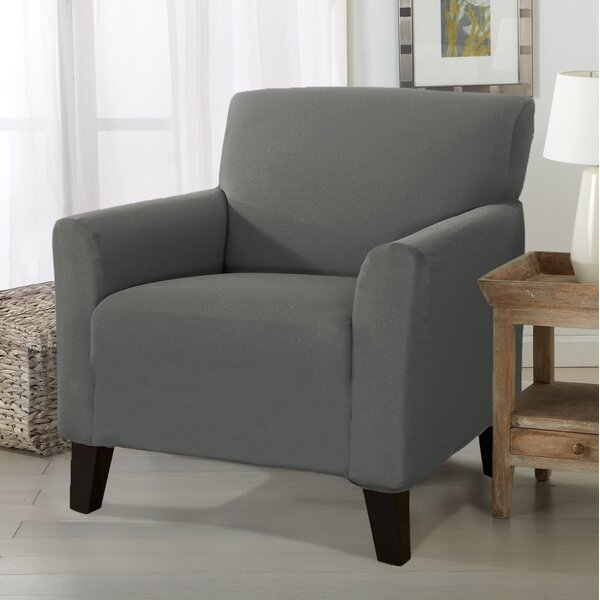 Solid Stretch Box Cushion Armchair Slipcover By Winston Porter