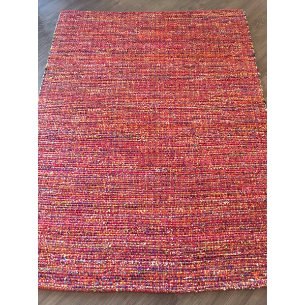 Hand-Woven Red Area Rug by AM Home Textiles