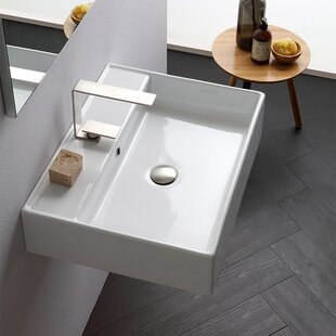 Compare prices Teorema Ceramic 24 Wall Mount Bathroom Sink with Overflow ByScarabeo by Nameeks