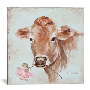 'Cow with Rose' Print by Lark Manor