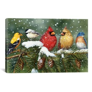 'Backyard Birds on Snowy Branch' Graphic Art on Canvas by August Grove