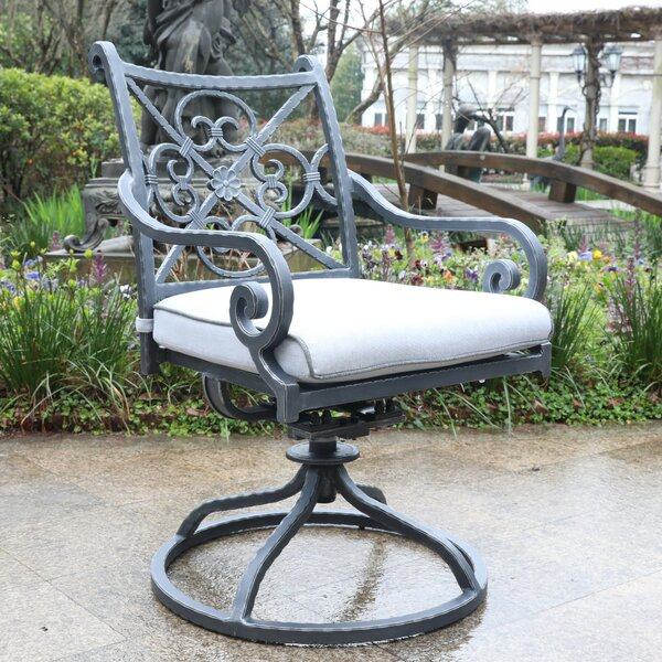 Waconia Swivel Patio Dining Chair with Cushion (Set of 2) by Fleur De Lis Living