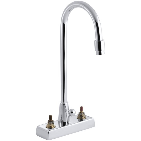 Triton Centerset Commercial Bathroom Sink Faucet with Gooseneck Spout and Pop-Up Drain, Requires Handles by Kohler