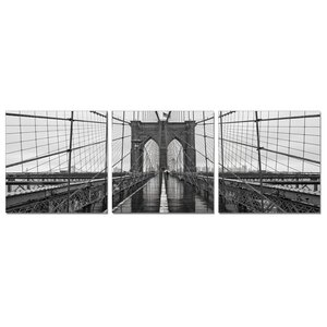 'Brooklyn Bridge' 3 Piece Photographic Print Wrapped Canvas Set by Williston Forge