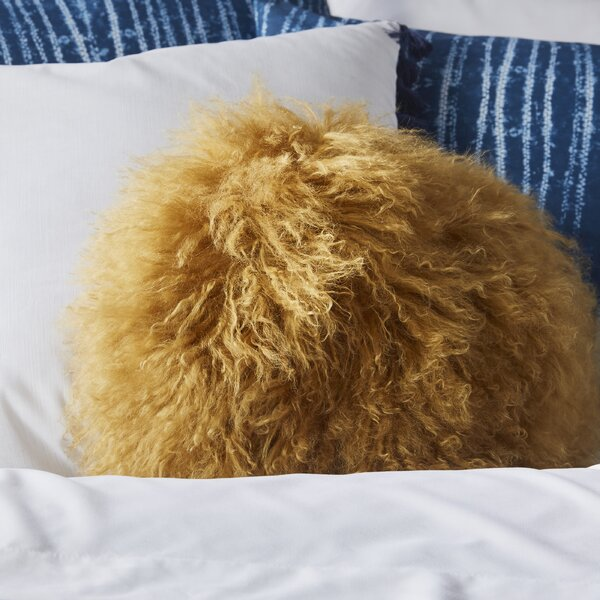 Bessler Tibetan Lamb Fur Throw Pillow by Langley Street