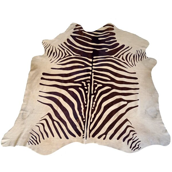 Designer Cowhides Printed Zebra Brown/White Area Rug by Trophy Room Stuff